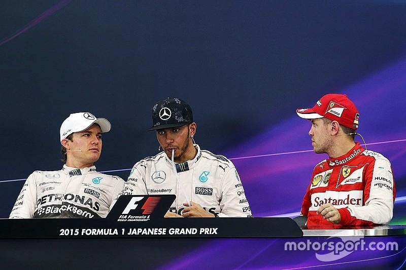 Vettel le hace broma pesada a Rosberg en conferencia de prensa