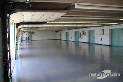 Inside garages before teams start setting up