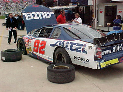 Jimmie Johnson's car after scraping the wall
