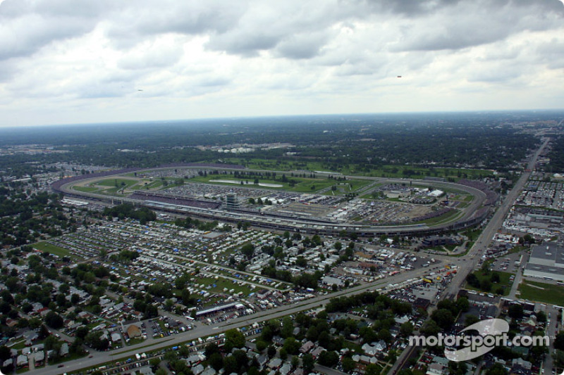 Aerial view of Indianapolis Motor Speeway: general view approaching the main stretch