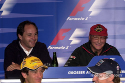 Press conference: Gerhard Berger, Niki Lauda having fun at the back, Jarno Trulli and Jenson Button