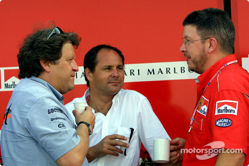 Norbert Haug, Gerhard Berger and Ross Brawn