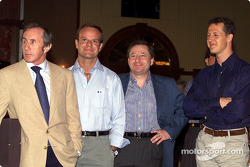 Jackie Stewart, Rubens Barrichello, Jean Todt and Michael Schumacher