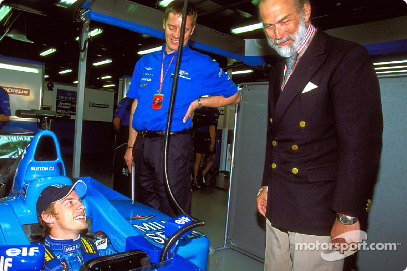 Jenson Button with Prince Michael of Kent in the garage