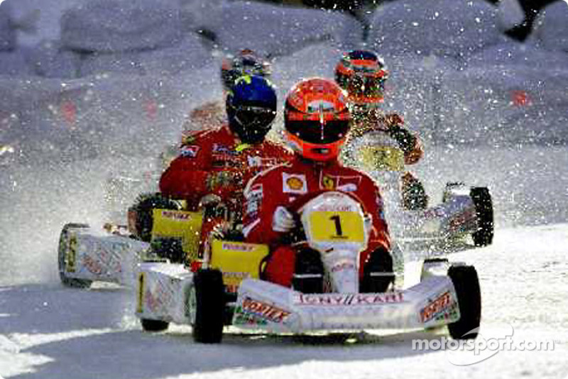 The ice kart race: Michael leads Finnish rally driver Tommi Makkinen and Rubens Barrichello