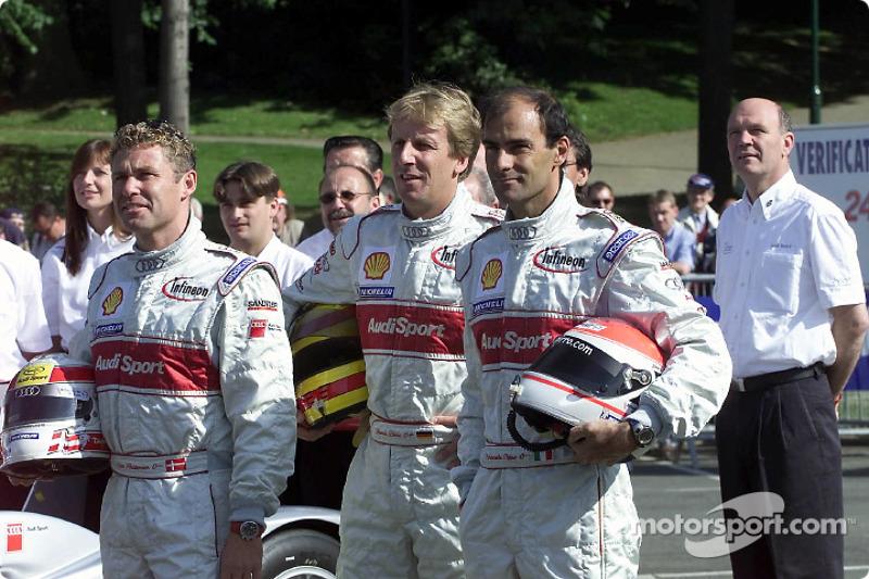The Audi #1 drivers: Tom Kristensen, Frank Biela, Emanuele Pirro