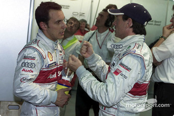 Audi drivers Laurent Aiello and Rinaldo Capello during first qualifying