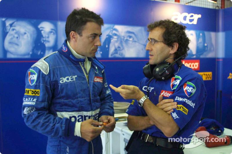 Jean Alesi and Alain Prost talking