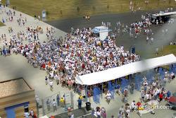 Fans arriving