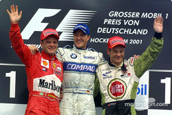 Podium: Rubens Barrichello, Ralf Schumacher and Jacques Villeneuve