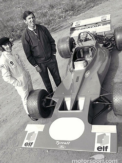 Ken Tyrrell and Jackie Stewart presenting the Tyrrell 001