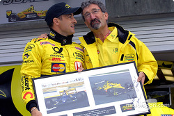 Jean Alesi celebrating his 200th Grand Prix with Eddie Jordan