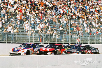 Jeff Burton, Ricky Rudd and Dave Marcis going 3 wide
