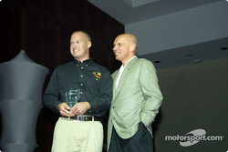 Simon Morley, Panther Racing crew chief, received the Pennzoil Chief Mechanic of the Year Award from Jim Postl, Pennzoil President and Chief Executive Officer
