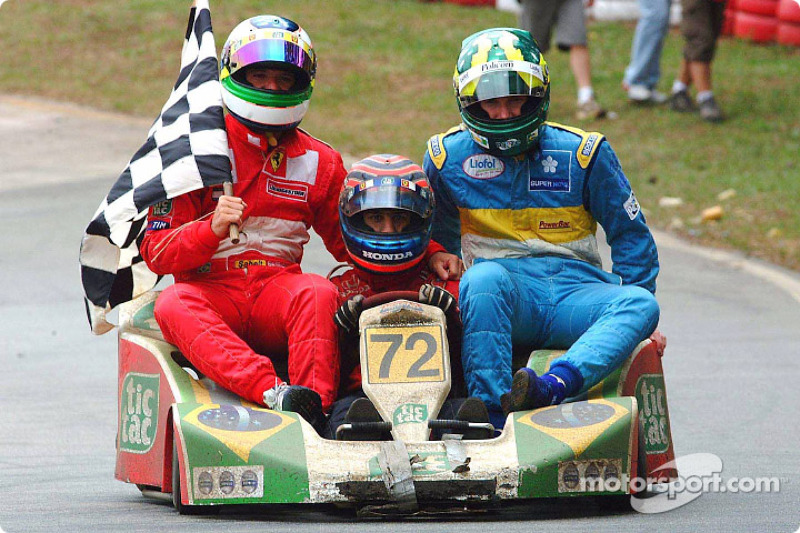 Rubens Barrichello, Tony Kanaan and Mario Haberfeld
