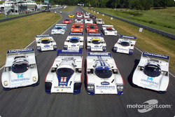 A group shot of the Porsche 962 and 956 race cars, an unbelieveable 23 cars in total