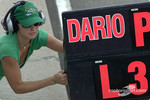Ashley Judd with Dario Franchitti's pitboard