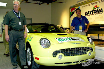 Grand America President Roger Edmondson and Ford Division Racing Marketing manager Sam Scott announcing that Ford has been named the Official Vehicle and Pace Car of the Grand American Road Racing Association