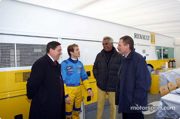 Patrick Faure, Jarno Trulli, Flavio Briatore and Jean-Jacques His