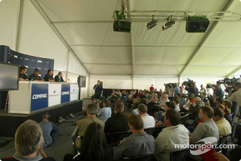 Compaq driver day: Sam Michael, Juan Pablo Montoya, Alan Jones and Andrew Collis