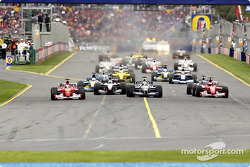The start: Rubens Barrichello, David Coulthard, Ralf Schumacher and Michael Schumacher leading the charge