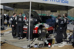 Hyundai World Rally Team working on Armin Schwarz's car
