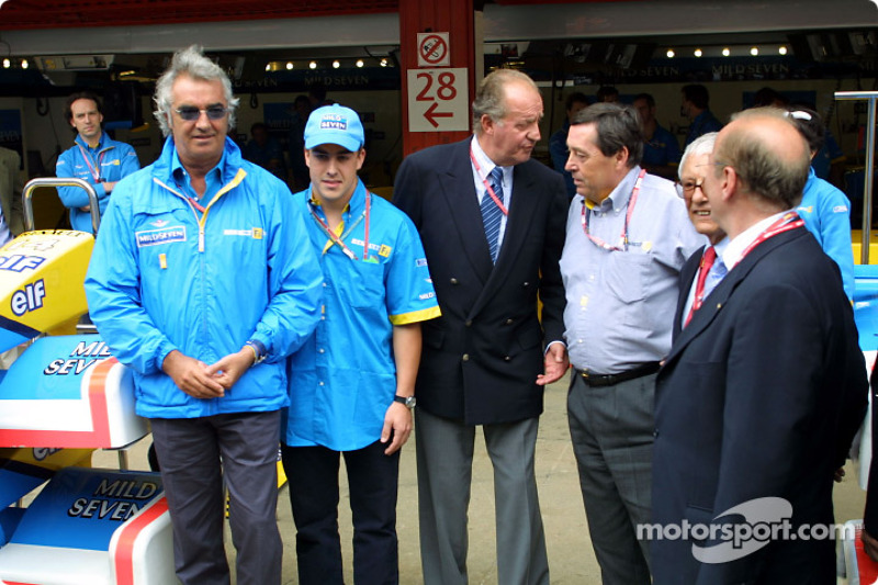 Flavio Briatore, Fernando Alonso, King Juan Carlos and Patrick Faure