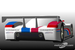 Brumos Motor Cars will return to professional competition in 2003 with a FABCAR-designed, Porsche-powered Daytona Prototype coupe. Shown is a rear view rendering of Brumos' Daytona Prototype coupe.