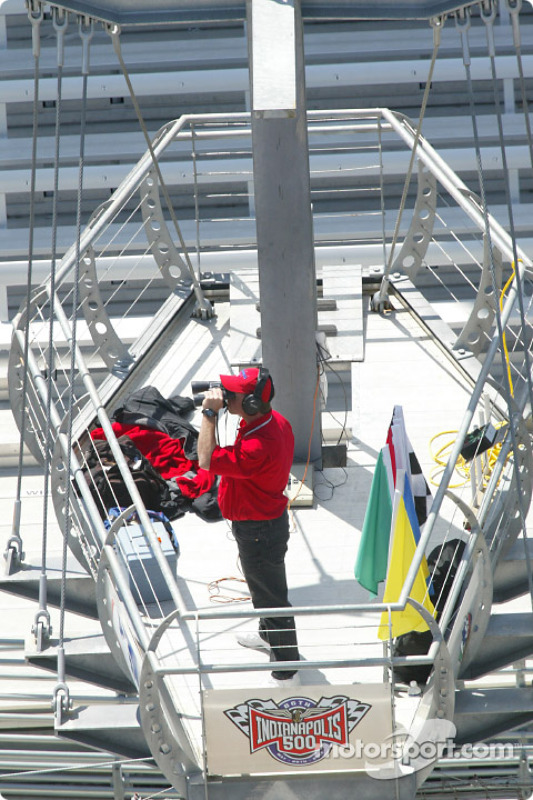 Indianapolis Motor Speedway flagman getting ready for the day