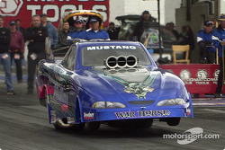 Bruce Mullins does a wheelie in alcohol funny car