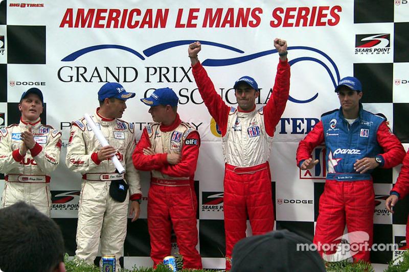The podium: Johnny Herbert, Tom Kristensen, Jan Magnussen, David Brabham and Bryan Herta