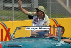 Drivers' parade: local hero Jacques Villeneuve