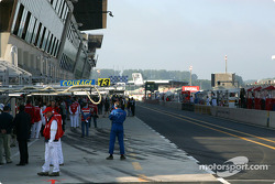 Le Mans pitlane, early Sunday morning