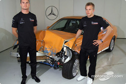 McLaren Mercedes drivers David Coulthard and Kimi Raikkonen visiting the virtual reality studios and the crash test facilities in the Mercedes-Benz factory at Sindelfingen