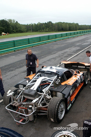 Rear of Mosler exposed on false grid