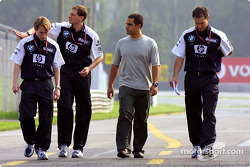 Juan Pablo Montoya coming back from a track inspection