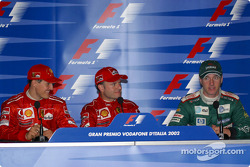 Press conference: race winner Rubens Barrichello with Michael Schumacher and Eddie Irvine