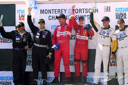The podium: GTS winners Tomas Enge and Peter Kox with Terry Borcheller, Franz Konrad, Andy Pilgrim and Kelly Collins