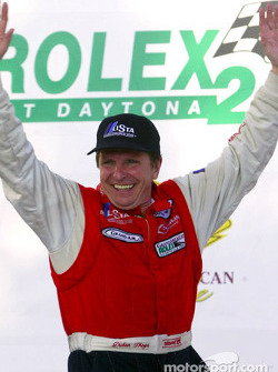 The podium: 2002 drivers champion Didier Theys