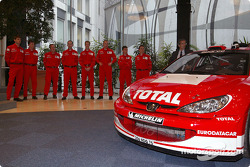 Rally of Monte Carlo Marlboro Peugeot Total launch in Paris: Marcus Gronholm, Richard Burns, Harri Rovanpera, Gilles Panizzi, Timo Rautiainen, Robert Reid, Hervé Panizzi and Risto Pietilainen