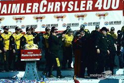 Celebration on victory lane