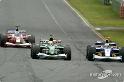 Olivier Panis, Mark Webber and Nick Heidfeld