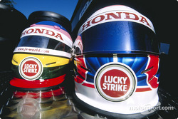 Jacques Villeneuve and Jenson Button's helmets