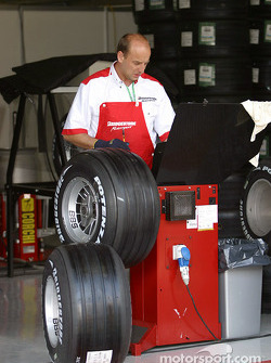 Bridgestone team member prepare the tires