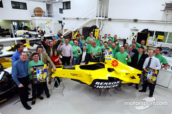 Team Jordan celebrate belated Brazilian GP victory of Giancarlo Fisichella, Jordan Headquarters, Silverstone