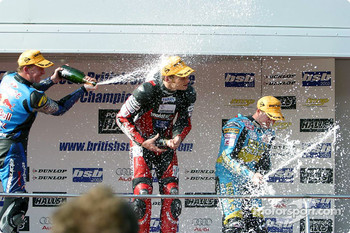 The podium: race winner Shane Byrne, Sean Emmett and John Reynolds