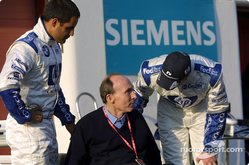 Frank Williams with his drivers Juan Pablo Montoya and Ralf Schumacher