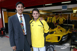 Formula Renault Eurocup V6 driver Adam Langley-Khan with Giancarlo Fisichella