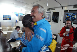 Fernando Alonso and Flavio Briatore celebrate podium finish