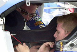 Jeff Burton gets strapped in